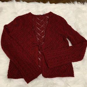 The Limited Burgundy Crochet Cardigan